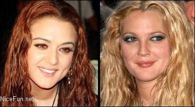 Preity Zinta and Drew BarryMore - Except our actress being blonde they can be put into look alike category